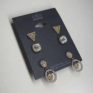 Earrings 3-set Classy Gold Crystal Studs